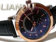 新品 1スタ★LIANDU【スモールセコンド】美しい大型メンズ腕時計