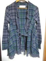 furfur チェックレースガウンシャツ