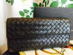良品ボッテガヴェネタ二つ折ラウンド長財布ブラウンレザー箱