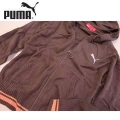 新品 Mサイズ PUMA プーマ ニットパーカー ブラウン/オレンジ