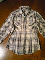 チェックシャツ七分袖美品Mサイズ