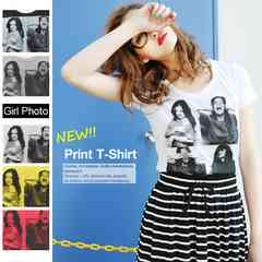 転写プリントTシャツ/カットソー/グレー/Mサイズ
