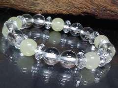 六角水晶系クォーツアイト‡水晶イエロー8ミリ数珠