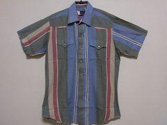 即決USA古着●鮮やかデザインウエスタン半袖シャツ!アメカジ・ビンテージ