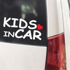 KIDS IN CAR ハート付/ステッカー(白)cmc-tyoeキッズインカー