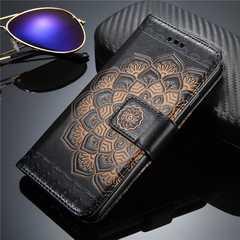 iPhone6/6s 手帳型ケース フラワー ストラップ    フィルム 黒