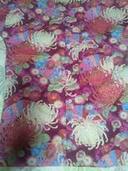 ☆新柄赤紫×着物風流水に大輪花扇子和柄ダボシャツS