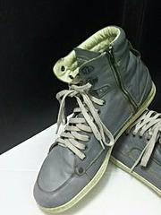 最値定5万!名作!ディーゼルDiesel高級レザーサイドジップスニーカー 靴 29cm