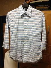 日本製 チャオパニック 細身タイト ボーダー柄 七分袖シャツ Sサイズ 白×水×紺