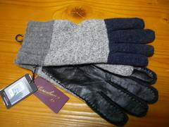 ボルサリーノグレーニット手袋部分皮革