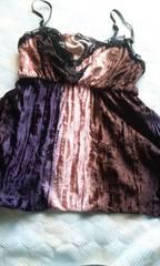 レース付き紫×茶×ピンク裾不揃い可愛いキャミ