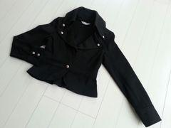 【訳あり/即決】ジャケット♪カットソー素材☆スタンドカラー★ブラック♪Mサイズ