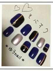 *ゆうnail*blue×blackマルチカラーnailベリーショート