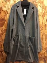 新品8L大きいサイズグレー柔らか素材ロングジャケット♪s431