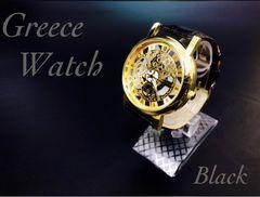 腕時計 メンズ レザー 革ベルト ギリシャ文字 金フレーム 黒色