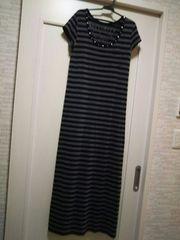 M厚手カットソー胸元ビジュースタッズ付き半袖Tシャツワンピース