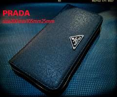 PRADA italyサフィーアーノtype型押しレザー黒 財布ノベルティ