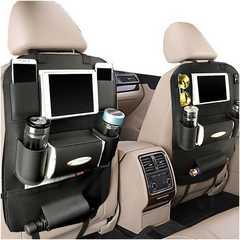 車用シートバック iPad mini収納ポケット ブラック