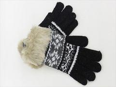 スマホ手袋★北欧★ノルディック 雪の結晶柄★BLACK◆新品タグ付