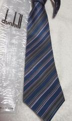 ダンヒル ネクタイ 紺 ブルー緑の細い斜めストライプ