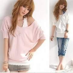 2色セット★チュニック丈のオフショルT■ホワイト&ピンク