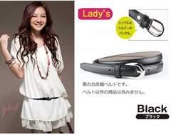 新品【6856】L-2L(大きいサイズ)黒★シンプルな合皮細ベルト