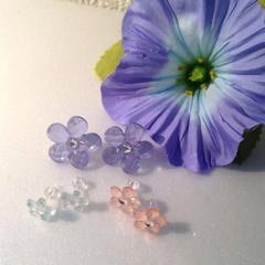樹脂ポスト ハートキャッチ お花  ピアス セット ブルー ピンク