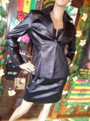 Cool&sexy†11ARクロコ型押レザー調�B点セット ミニスカスーツ*
