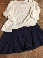 =新品=良品レースふわっとスカート★L★紺