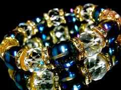 ブルーオーラ§64面カット水晶§14ミリ§金ロンデル