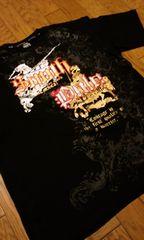 サウスポールゴールド&シルバーラメプリント 黒ブラックTシャツ サイズ2XLXXL