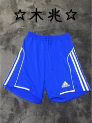 adidasCLIMACOOLアディダスサッカーパンツ青x白