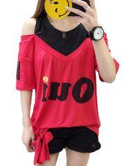 オフショルダー ゆったりTシャツ(XL寸・赤)