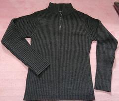 即決 ジップ付セーター グレー