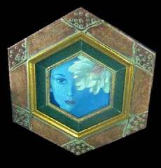 絵画 油彩 安部英夫 『月下美人と女』 一枚の絵扱い 真作保証