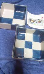 市松 ペア鉢 14×14