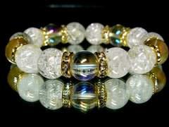 アクアオーラ天然水晶&クラック爆裂水晶AAA12ミリ数珠