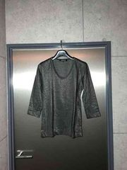 5351プールオム/ラメ糸シルバー七分袖カットソーTシャツ/2