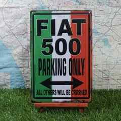 新品【ブリキ看板】Fiat500/フィアット500 Parking Only