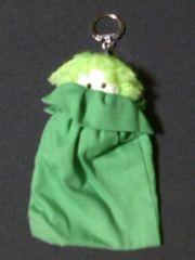 ▲ハンドメイド/キーホルダー/ミニ巾着/単色緑