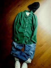 sunny clouds 綿麻グリーンシャツ M