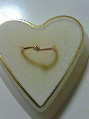 K 10ピンクゴールドの小さいダイヤリング
