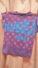 新品ドルマンTシャツ140水玉ドット&ロゴ紫