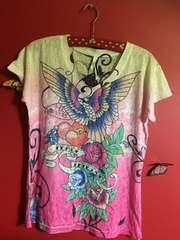 新品タグ付海外インポート和柄花柄コンドル柄ピンク系Tシャツ