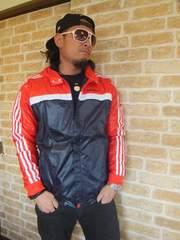 【新品】adidas上質ナイロンパーカージャケット紺×赤O♪アディダス