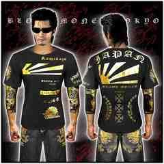送料無料ヤクザ&悪羅悪羅系/オラオラ系半袖Tシャツ服/JAPAN/14009黒-L
