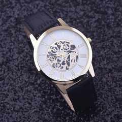 腕時計 ギリシャ 文字クォーツ 高品質レザー ベルトウォッチ黒色