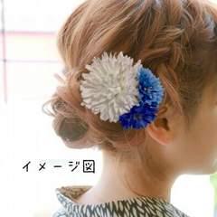 髪飾り ヘアアクセサリー ヘアピン ハンドメイド 浴衣夏祭り青