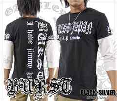 メール便送料無料【MAD BURST JAPAN】70545-7分Tシャツ黒銀M