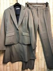 新品☆11号股下77�pパンツ・スカートスーツ3点セットグレーs219
